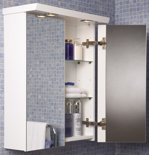 example image of croydex cabinets 2 door bathroom cabinet with lights