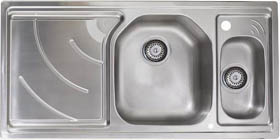 Astracast Sink Echo 1.5 bowl stainless steel kitchen sink with left hand drainer.