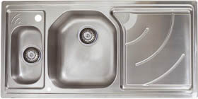 Astracast Sink Echo 1.5 bowl stainless steel kitchen sink with right hand drainer.
