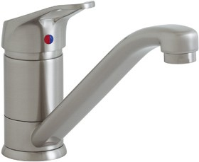 Astracast Single Lever Finesse monoblock 709 kitchen tap in brushed steel.