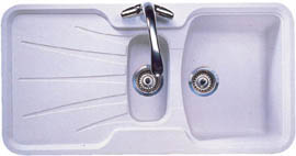 Astracast Sink Korona 1.5 bowl granite rok opal white composite kitchen sink.