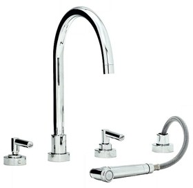 Abode Atlas 4 Hole Kitchen Tap With Spray (Chrome).