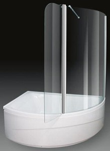 Aquaestil Comet Corner Shower Bath With Screen.  Left Hand. 1500x1000mm.