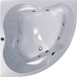 Aquaestil Newa Large Corner Turbo Whirlpool Bath. 14 Jets. 1500x1500.