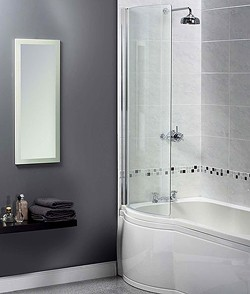 Aqualux Shine Curved Bath Screen. 710x1500mm (Reversable).