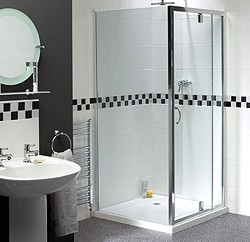 Aqualux Shine Telescopic Pivot Shower Door. 760 to 900mm Trays.