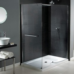 Aqualux Shine Walk In Shower Enclosure With Tray 1400x800mm (Reversible).
