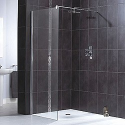 Aqualux Shine Glass Shower Panel With Wall Bracket 800x1900mm 1160496.