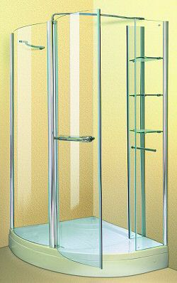 Aqua Enclosures Arizona Right Handed offset corner quadrant shower enclosure with tray and waste