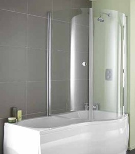 Aquarius Versilla Complete Shower Bath (Right Hand).  1500x900mm.