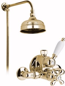 "Vado Westbury Gold thermostatic valve, rigid riser and 6"" head."