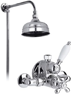 "Vado Westbury Chrome thermostatic valve, rigid riser and 6"" head."