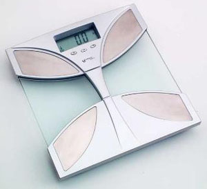 Scales Imperius silver & glass digital bathroom scales + body fat indicator.