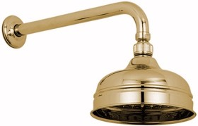 "Vado Westbury Traditional 6"" fixed shower head and arm in gold."