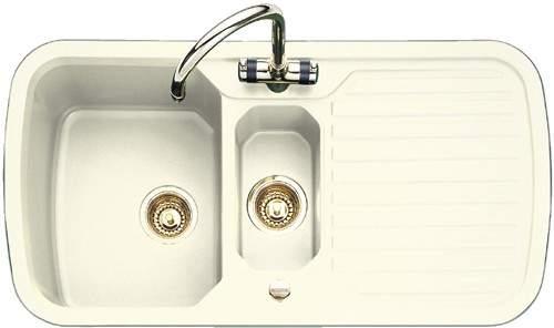 Rangemaster RangeStyle > 1.5 Bowl Cream Sink With Brass Tap & Waste.