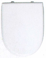 Aspen White top loading toilet seat and cover with chrome hinges.