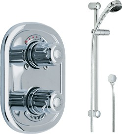 Wicklow Concealed twin thermostatic shower valve & slide rail kit (Chrome).