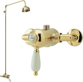 Viscount Manual single lever shower valve with rigid riser kit (Gold)