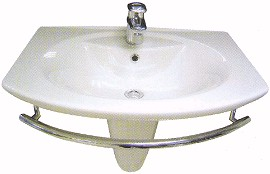 Shires Parisi 1 tap hole basin with semi-pedestal and towel rail.