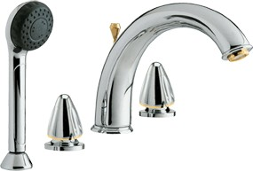 Saturn Luxury 4 tap hole bath shower mixer tap (Chrome/Gold)