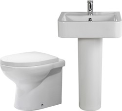 Shires Parisi 3 Piece Bathroom Suite, Back To Wall Toilet Pan, 51cm Basin.