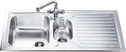 Smeg Sinks Cucina 1.5 Bowl Stainless Steel Kitchen Sink, Reversible CUR150.