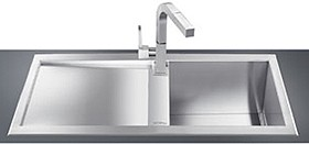 Smeg Sinks 1.0 Bowl Low Profile Stainless Steel Sink, Left Hand Drainer.