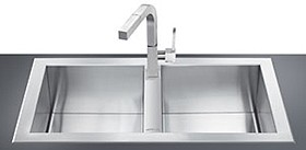 Smeg Sinks 2.0 Bowl Stainless Steel, Low Profile Kitchen Sink.