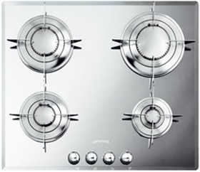 Smeg Gas Hobs Evolution Mirror 4 Burner Gas Hob. 600mm.