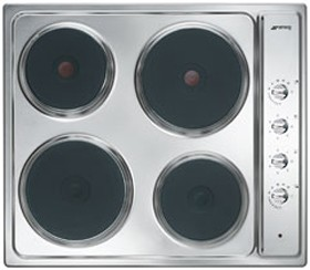 Smeg Electric Hobs Cucina 4 Plate Stainless Steel Electric Hob. 580mm.