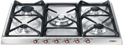 Smeg Gas Hobs 5 Burner Gas Hob With Red Controls. 70cm (Stainless Steel).