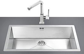 Smeg Sinks > 1.0 Bowl Stainless Steel Flush Fit Kitchen Sink.