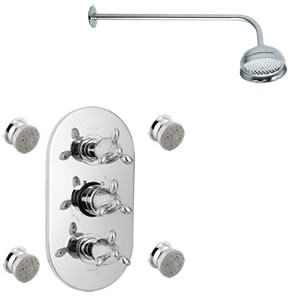 Sensational Neptune Triple thermostatic valve + fixed shower head & jets.