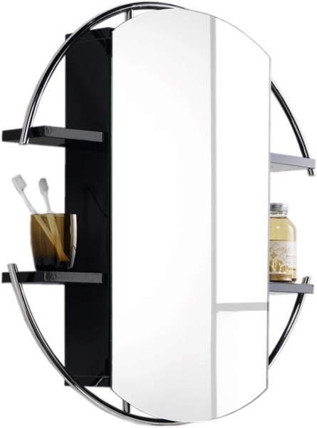 Hudson Reed Sphere Round Mirror Cabinet Shelves Black 740mm