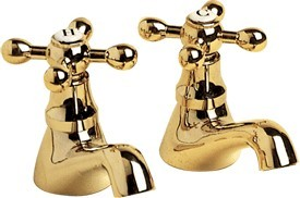 Viscount Basin Taps (Pair, Antique Gold, Special Order)