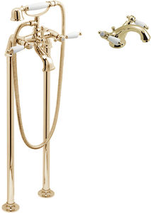 Vado Kensington Basin Mixer & Floorstanding BSM Tap Pack (Gold & White).