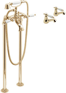 Vado Kensington Basin Taps & Floorstanding BSM Pack (Gold & White).