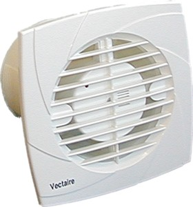 Vectaire Recessed Extractor Fan With Timer. 100mm (White).