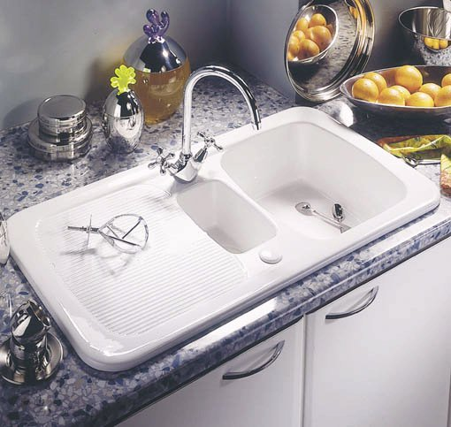 Example image of Astracast Sink Aquitaine 1.5 bowl ceramic kitchen sink.