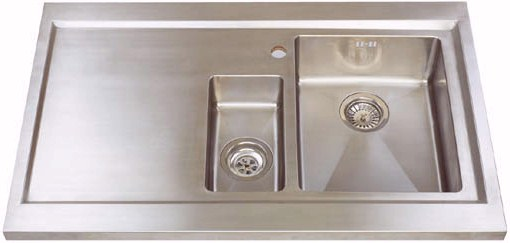Larger image of Astracast Sink Bistro 1.5 bowl sit on work centre with left hand drainer & extras.