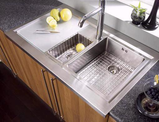 Example image of Astracast Sink Bistro 1.5 bowl sit on work centre with left hand drainer & extras.
