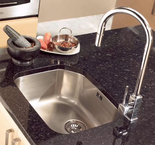 Example image of Astracast Sink Echo S2 large bowl polished steel undermount kitchen sink.