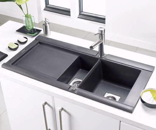 Example image of Astracast Sink Geo 1.5 bowl black composite kitchen sink, left handed.