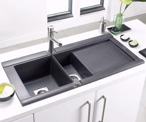 Example image of Astracast Sink Geo 1.5 bowl black composite kitchen sink, right handed.