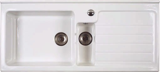 Larger image of Astracast Sink Jersey 1.5 bowl sit-in ceramic kitchen sink with right hand drainer.