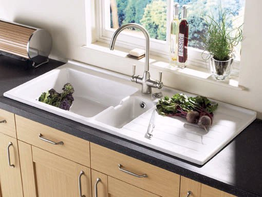 Example image of Astracast Sink Jersey 1.5 bowl sit-in ceramic kitchen sink with right hand drainer.