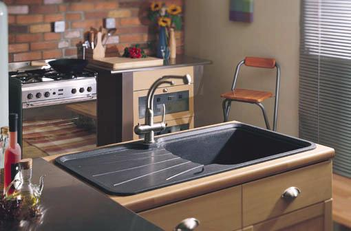 Example image of Astracast Sink Korona 1.0 bowl rok metallic black composite kitchen sink.