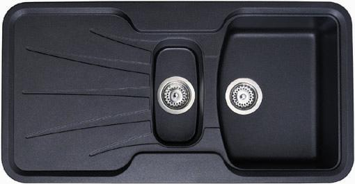 Larger image of Astracast Sink Korona 1.5 bowl rok metallic black composite kitchen sink.
