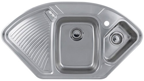 Larger image of Astracast Sink Lausanne Deluxe stainless steel corner kitchen sink.