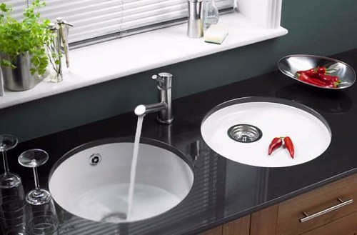Example image of Astracast Sink Lincoln round undermount ceramic kitchen bowl.